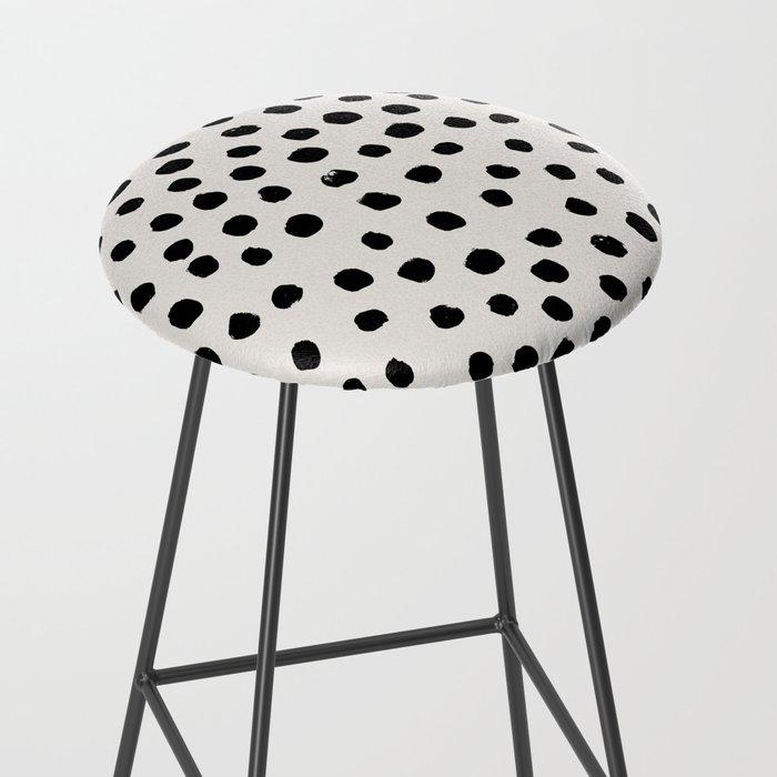 Preppy brushstroke free polka dots black and white spots dots dalmation animal spots design minimal Bar Stool