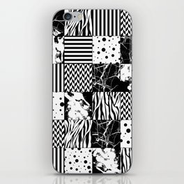 Eclectic Black and White Squares iPhone Skin