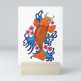 fish with water and flowers Mini Art Print