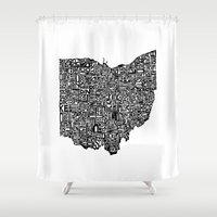 ohio Shower Curtains featuring Typographic Ohio by CAPow!