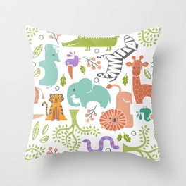 Zoo Pattern in Soft Colors Throw Pillow