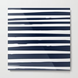 Stripes Nautical Modern Navy and White Metal Print