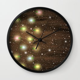 Christmas lights on wooden background Wall Clock