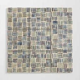 Indigo Crosshatch Pattern Wood Wall Art