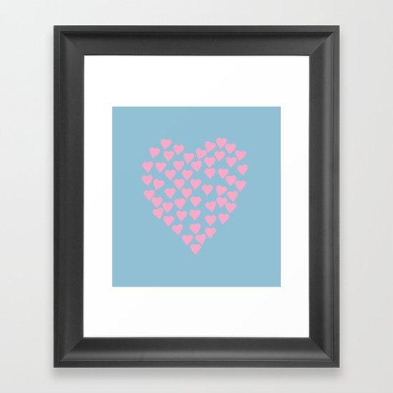 Hearts Heart Pink on Blue Framed Art Print