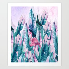 New Modern Green Green Plantain Flamingo Art Print