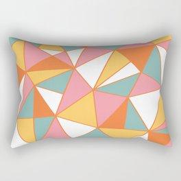 Geometric Art, Yellow, Teal, Orange, Pink, Triangle Geometric Art Rectangular Pillow