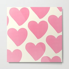 Pink Hearts on Pale Yellow Metal Print