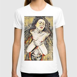 6151s-KD Red Lips in Mirror Erotic Art in the style of Wassily Kandinsky T-shirt