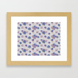 Hydrangeas and French Script with birds on gray background Framed Art Print