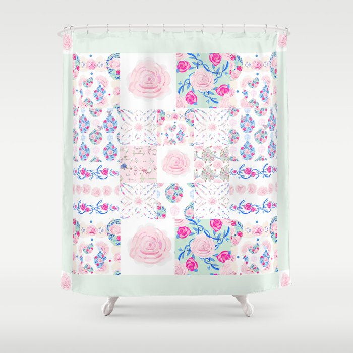 A Shabby Chic Patchwork Shower Curtain By Karencox
