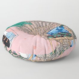 Peacock Chair in Pink Jungle Interior Floor Pillow