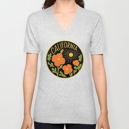 California Poppy Sun Unisex V-Neck