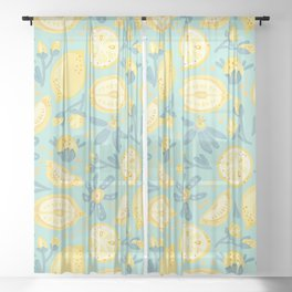 Lemon Pattern Mint Sheer Curtain