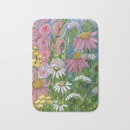 Floral Watercolor Garden Flowers Vibrant Colors Prints For Sale Bath Mat