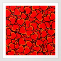 hearts Art Prints featuring Heart by 10813 Apparel