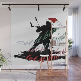 Let It Blow Christmas Holiday Kiteboarding Sport Wall Mural