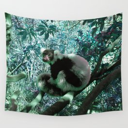 Black and White Ruffed Lemur in Turquoise Wall Tapestry