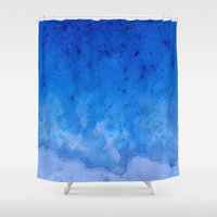 salt water Shower Curtains featuring Blue Salt Crystal Surf by LacyDermy