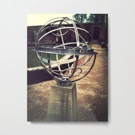 Sphere in a walled garden. Metal Print