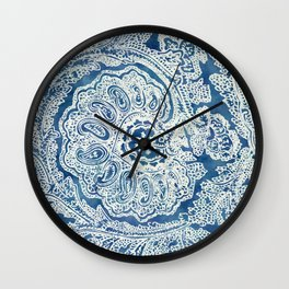 Blue Boho Paisley Pattern Wall Clock