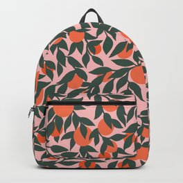 Oranges and Leaves Pattern - Pink Backpack