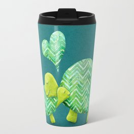 Sweet Turtle Hugs with Heart in Teal and Lime Green Travel Mug