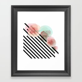 Watercolor Floral with Stripes Framed Art Print