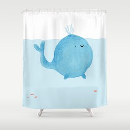 The Enigmatic Pudding Whale Shower Curtain
