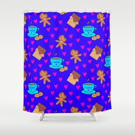 Lovely sweet gingerbread men cookies, chocolate bars, cups of hot cocoa, pink hearts winter pattern Shower Curtain