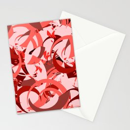 Abstract Curls - Burgundy, Coral, Pink Stationery Cards