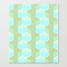 Cubes in teal and golden chevron Canvas Print