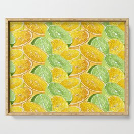 Citrus juicy slice pattern with fruit halves Serving Tray