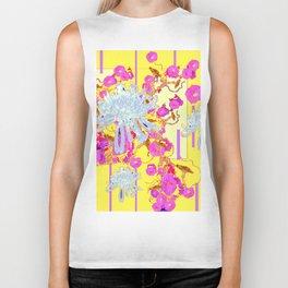 Modern Yellow Art White Spider Mums Pink Flowers Garden Art Biker Tank