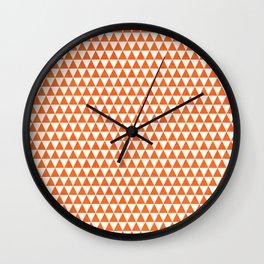 triangles - orange and white Wall Clock