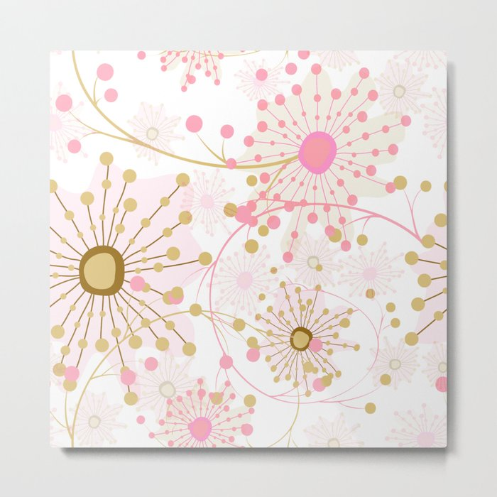 Retro . Abstract pattern Dandelions . Metal Print