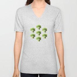 Green Funny Cartoon Broccoli Unisex V-Neck