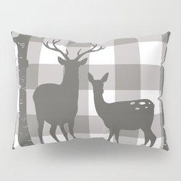 Deer & Birch Grey Plaid Pillow Sham