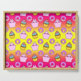 Cute funny Kawaii chibi little playful baby bunnies, happy sweet donuts and adorable colorful yummy cupcakes sunny bright yellow and raspberry pink seamless pattern design. Serving Tray