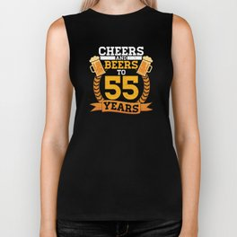 Cheer and Beers To 55 Years Birthday Party Alcohol Design Biker Tank