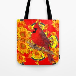RED CARDINAL YELLOW SUNFLOWERS RED ART Tote Bag