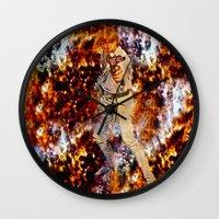 luke hemmings Wall Clocks featuring Luke Skywalker  by Saundra Myles