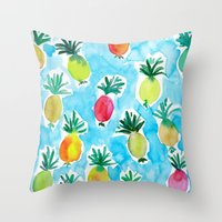 pineapples Throw Pillows featuring Pineapples by Barbarian // Barbra Ignatiev