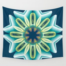 gentle blue glowing mandala on a dark blue background Indian motif with yellow pistils Wall Tapestry