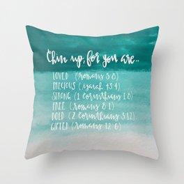 chin up (teal) Throw Pillow