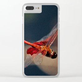 Red Skimmer Dragonfly Clear iPhone Case