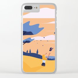 The Blue Hat Girl / Windy Day Clear iPhone Case