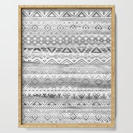 Watercolor tribal bohemian pattern in grayscale colors Serving Tray