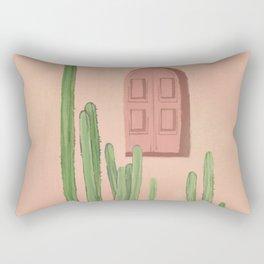 Pink window door with cactus Rectangular Pillow