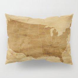 United States USA Vintage Map Pillow Sham